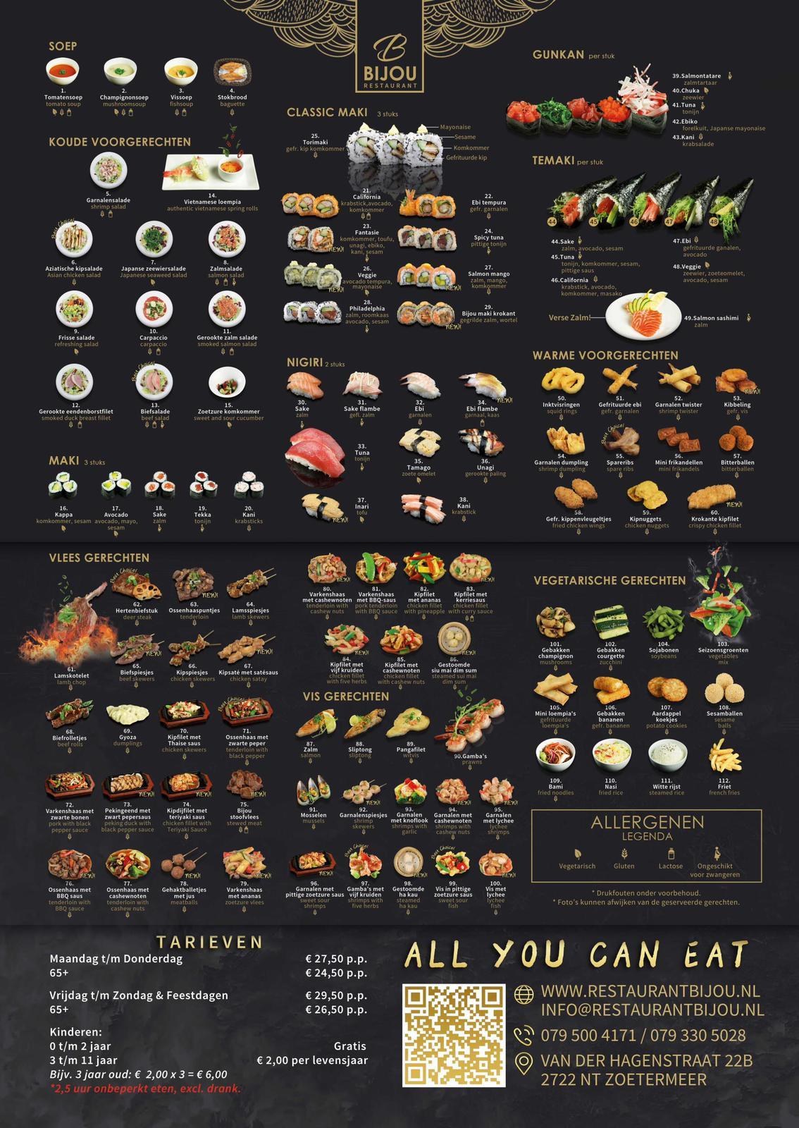 Restaurant BIJOU - menukaart 2019